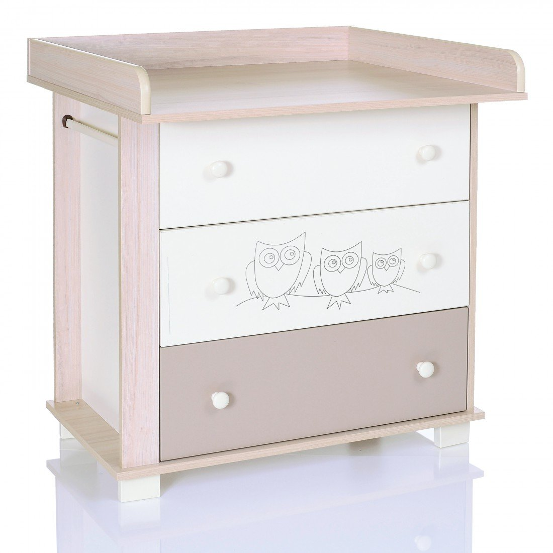Chest of Drawers OWLS beige brown with 3 Drawers and a Baby Changing Table Unit LCP Kids 966