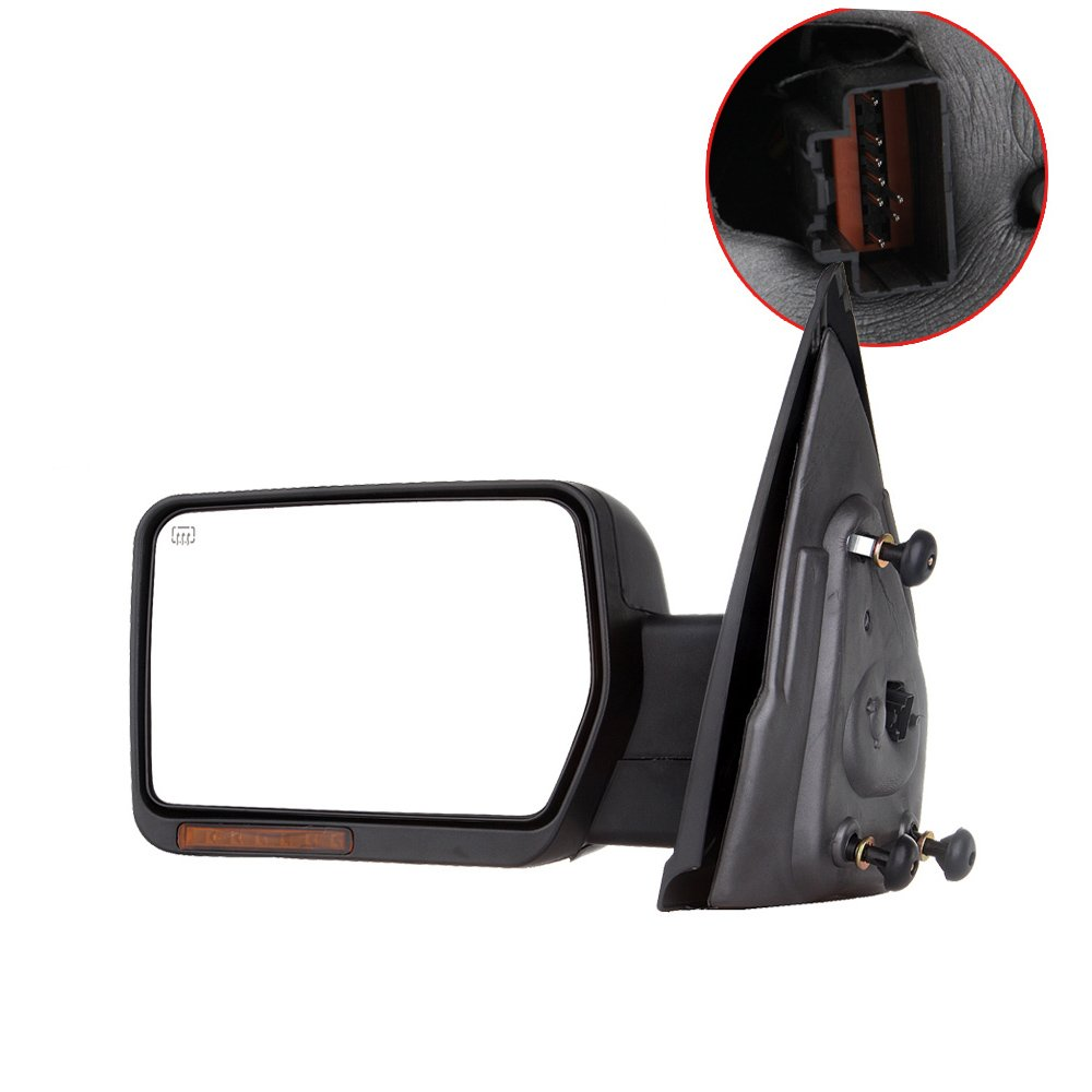 SCITOO Towing Mirrors, fit Ford Exterior Accessories Mirrors fit 2007-2014 Ford F-150 Truck Amber Turn Signal Puddle Light Heated Power Controlling Manual Folding (Driver Side) 050654-5206-1516521