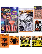 Pumpkin Masters Halloween Decor Bundle of 7 Items with 1 Pumpkin Carving Kit 60 Treat Bags 1 Spider Web 3 Giant Spiders and 2 Caution Tapes
