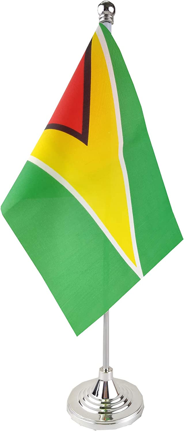 GentleGirl.USA Guyana Table Flag, Stick Small Mini Guyanese Flag Office Table Flag on Stand with Stand Base, International Festival Decoration,Guyana Theme Party Decoration,Home Desk Decoration