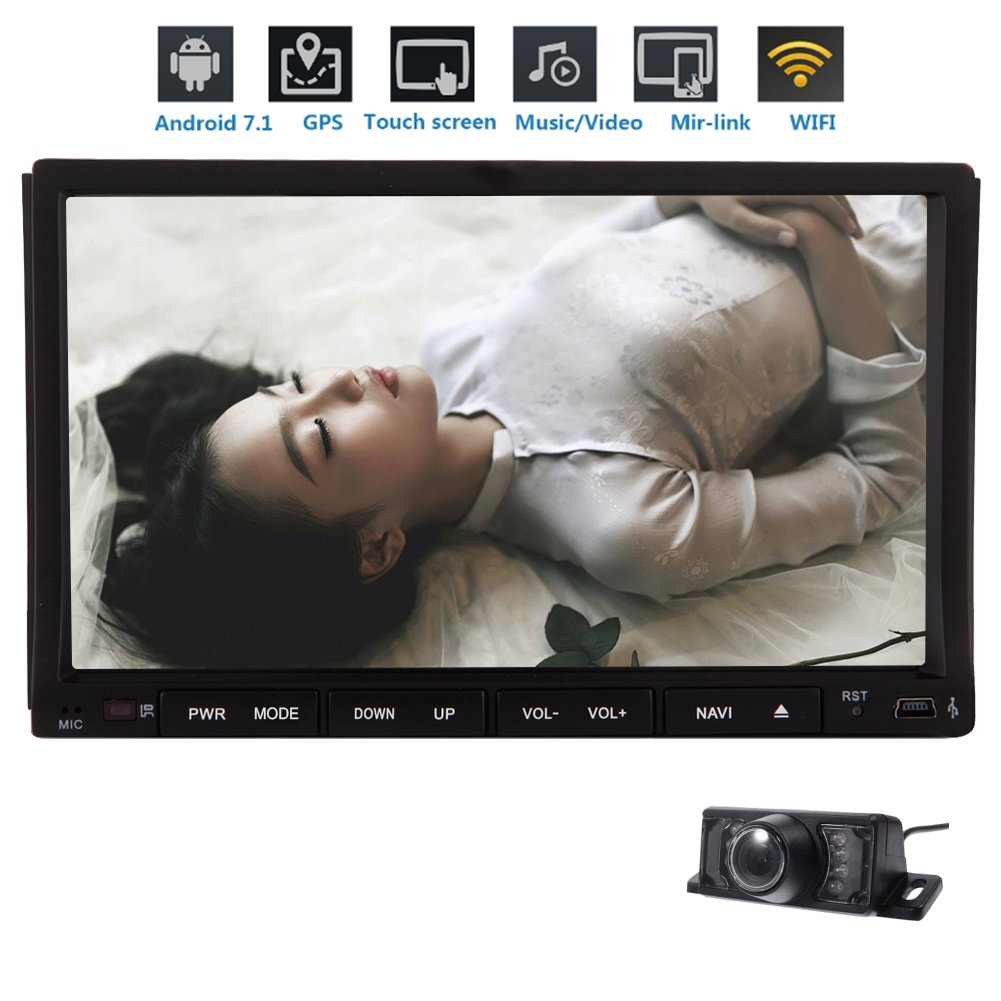 Free Rearview Camera + 7''inch 2GB 32GB Car Stereo Octa-core CPU Android 7.1 Double Din In Dash AM FM Radio Car Video with Bluetooth Wifi 4G GPS Navigation System Resolution: 1024600