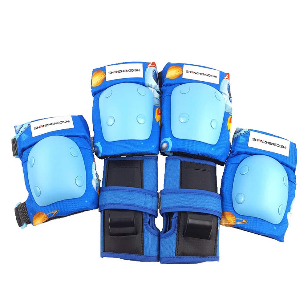 Kids/Youth Knee Pad Elbow Pads Guards Protective Gear Set for Scooter Roller SkatesBMX Bike Skateboarding Inline Skating Rock Climbing Outdoor Sports (Blue)