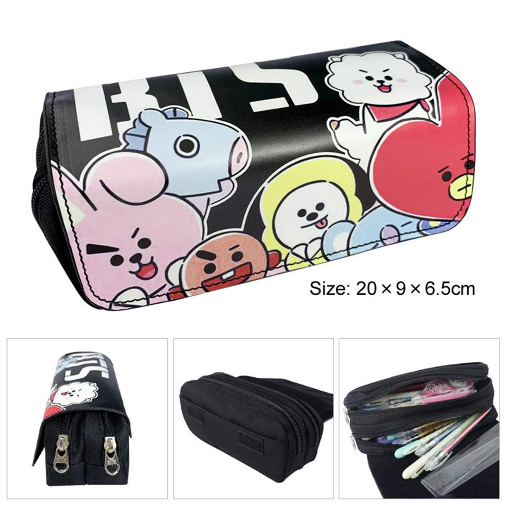 Chutoral Kpop BTS Bangtan Boys Pen Pencil Case, BT21 Large Capacity Pencil Pouch Bag Holder Organizer with Zipper for Office School Student Boys Girls(BT21 Black)
