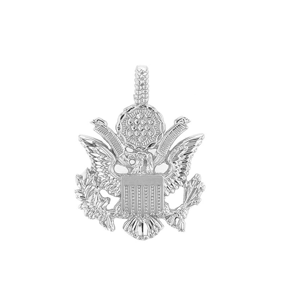 United States Great Seal in 14k White Gold Pendant Necklace, 20'' by American Heroes (Image #2)