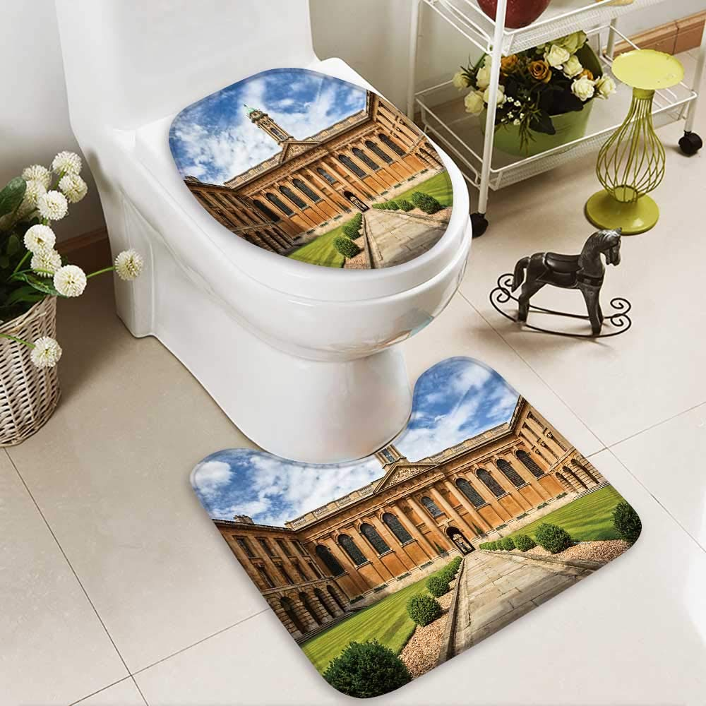 Analisahome Toilet carpet floor mat oxford university the queen s college 2 Piece Shower Mat set