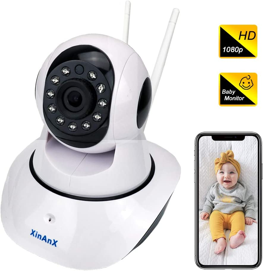 WiFi IP Camera 1080p, Wireless Security Camera Indoor Surveillance System 2.4GHz for Home Baby Pet Monitor with IR Night Vision, Pan/Tilt/Zoom, Motion Detection, Two-Way Audio, Cloud Storage