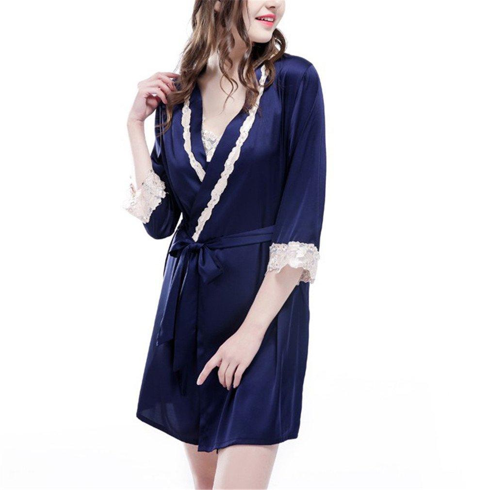 Sexy Womens Home Wear Bathrobe + Nightdress Two Piece Robe & Gown Sets Pyjamas Female Lace Evening Pijamas Blue Set XXL at Amazon Womens Clothing store: