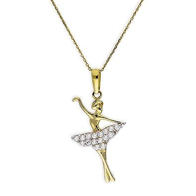 e39eb151ae Ciondolo ballerina di danza classica d'oro giallo 9ct con pietre CZ e  collana di 40,6cm: Amazon.it: Gioielli