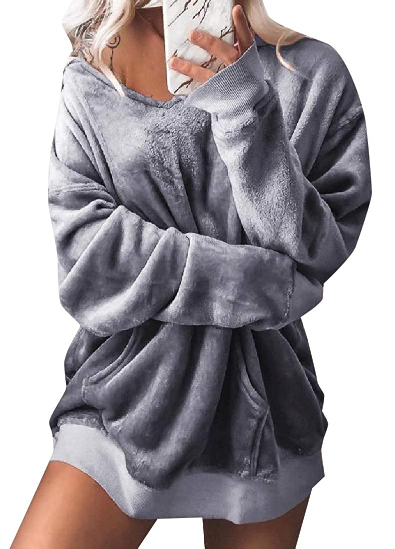 Coolred-Women Classic Fit Velour Velvet Long Sleeve Tunic Sweatshirts