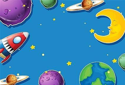 LFEEY 5x3ft Space Theme Back Drops Cartoon Space Party Backdrop Planet Rocket Moon Stars Earth Kids