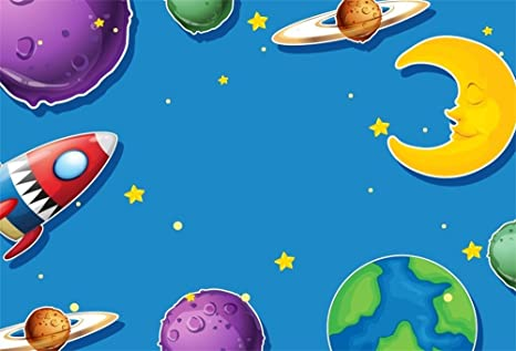LFEEY 9x6ft Space Theme Back Drops Cartoon Space Party Backdrop Planet Rocket Moon Stars Earth Kids