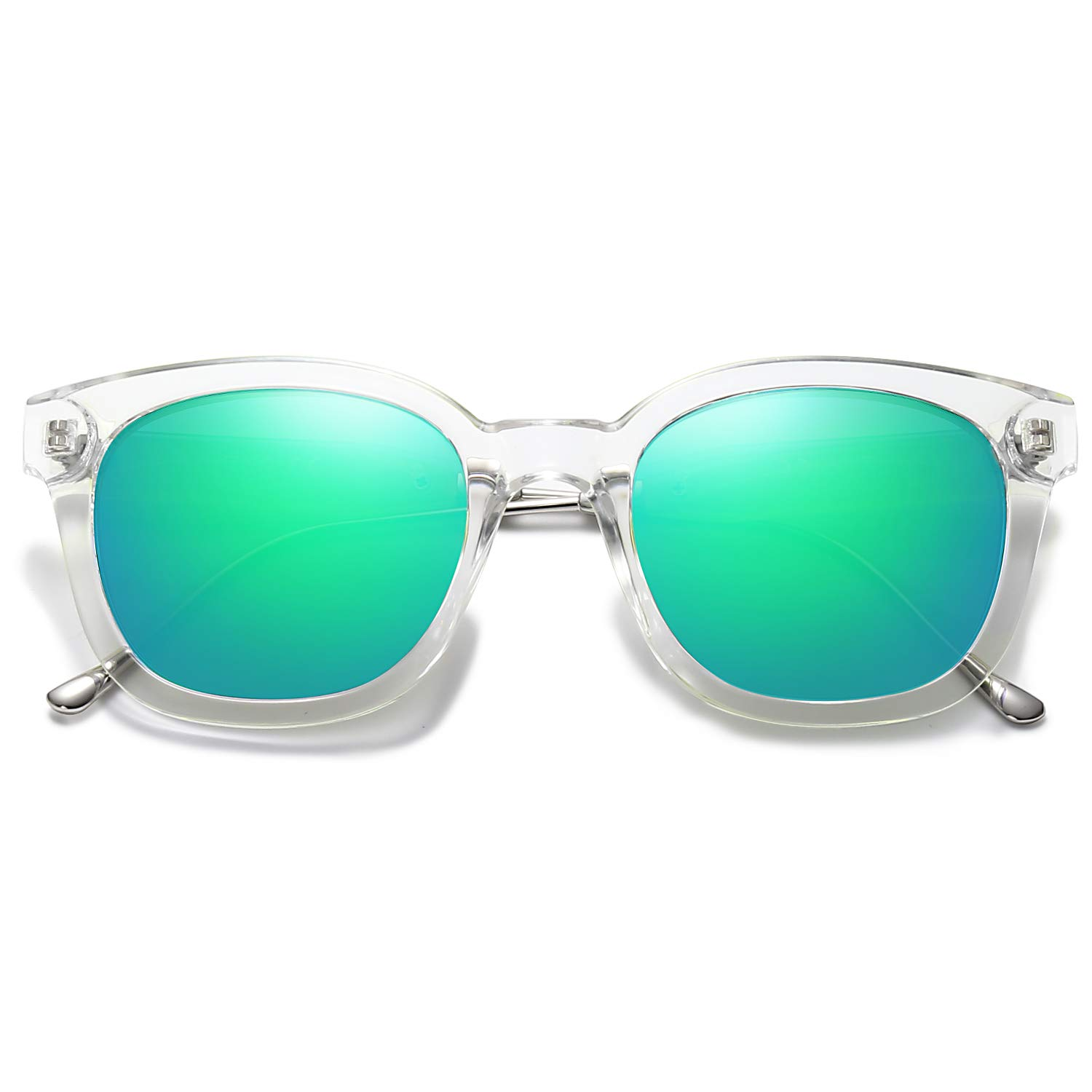 SOJOS Classic Square Polarized Sunglasses Unisex UV400 Mirrored Glasses SJ2050 with Transparent Frame/Green Mirrored Lens by SOJOS