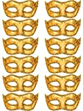 Mtlee 12 Pieces Half Mardi Gras Masquerade Mask Venetian Masks Set for Carnival Prom Ball Fancy Dress Party Supplies (Gold)