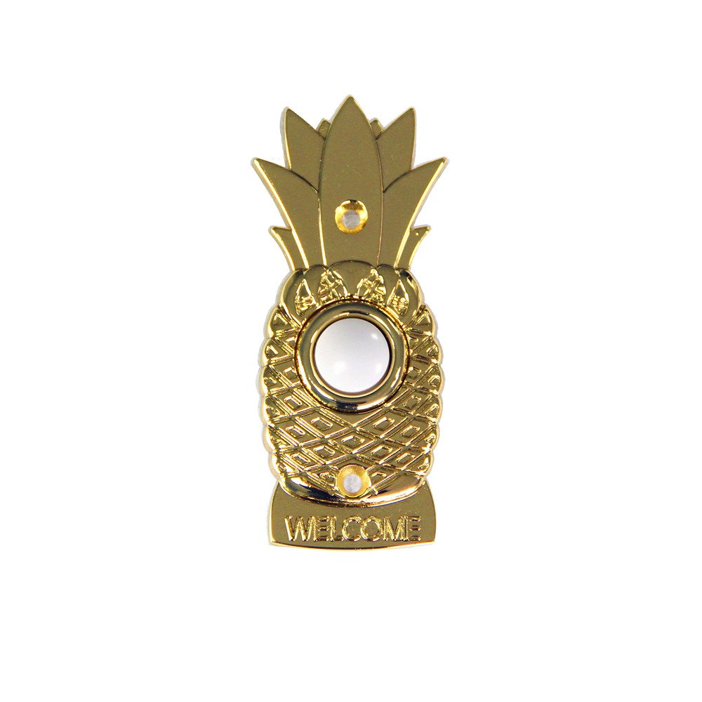 Wired Doorbell Button XJ1670 Pineapple Doorbell with Lighted Center (Polished Brass)