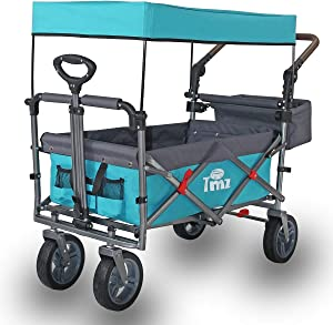 TMZ Utility Folding Beach Wagon with Removable Canopy, Collapsible Hand Cart, Heavy Duty Portable Trolley with All-Terrain Silent Wheels and Adjustable Push Handle, 102 L Storage, Maximum 150kgs