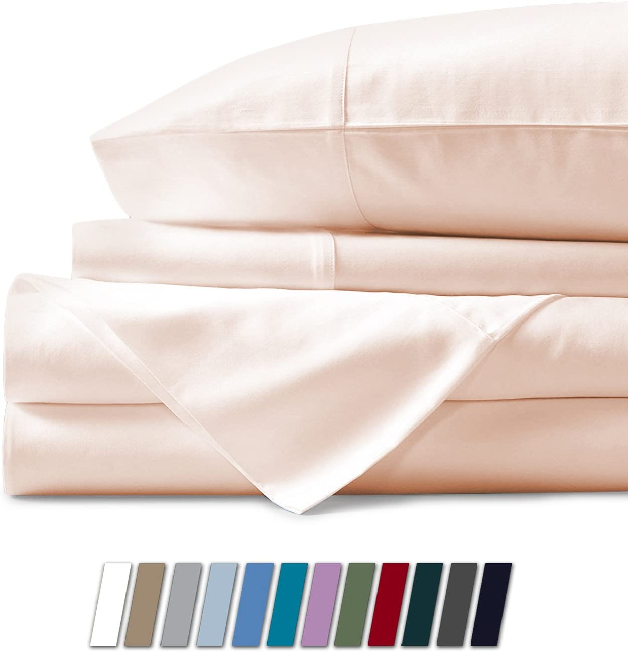 500 Thread Count 100% Cotton Sheet Ivory King Sheets Set, 4-Piece Long-staple Combed Pure Cotton Best Sheets For Bed, Breathable, Soft & Silky Sateen Weave Fits Mattress Upto 18'' Deep Pocket