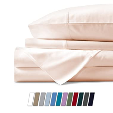 Mayfair Linen 600 Thread Count 100% Cotton Sheets - Ivory Long-Staple Cotton Queen Sheets, Fits Mattress Upto 18'' Deep Pocket, Sateen Weave, Soft Cotton Bed Sheets and Pillowcases