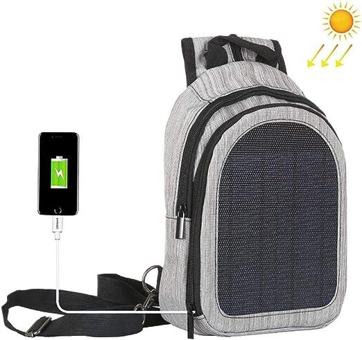 Hamkaw - Mochila Solar con Panel Solar de 5 W, Mochila de Carga Solar con Puerto USB para móviles Android Smartphone Tablet y Muchos Otros Dispositivos, Gris: Amazon.es: Hogar