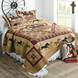 American Hometex Horse Country Queen Quilt Set, 90'' x 90'', Brown