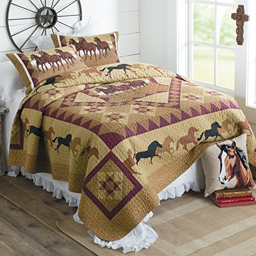 "American Hometex Horse Country Queen Quilt Set, 90"" x 90"", Brown"