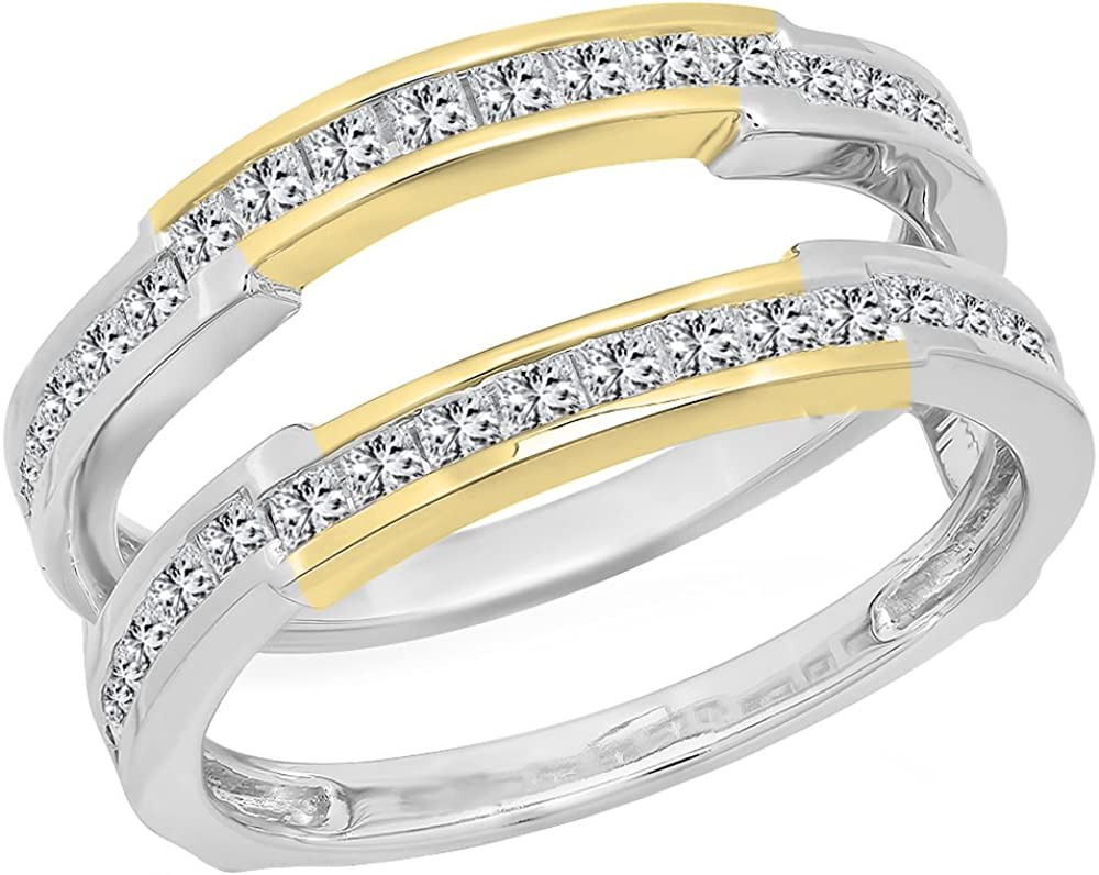 RUDRAFASHION 0.10 Carat 14K Yellow Gold Plated Round Diamond Ladies Contour Anniversary Wedding Stackable Band Guard Ring 1//10 CT Ctw