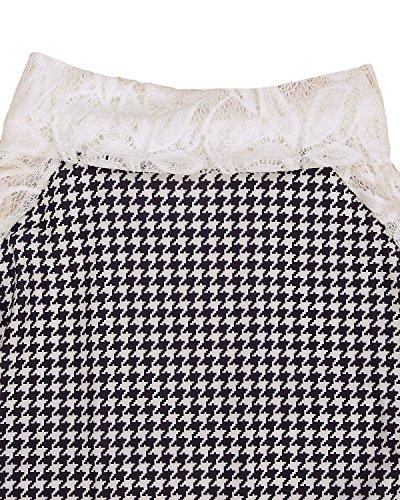Minetom Mujer Otoño Primavera Manga Larga Camisas Turtleneck Blusa Hueco Suéter Tops Blanco-negro