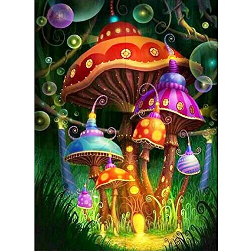 MXJSUA DIY 5D Diamond Painting Kits Full Drill Round Crystal Rhinestone Embroidery Pictures Arts Craft for Home Wall Decor Gift Colored Mushrooms 12x16in