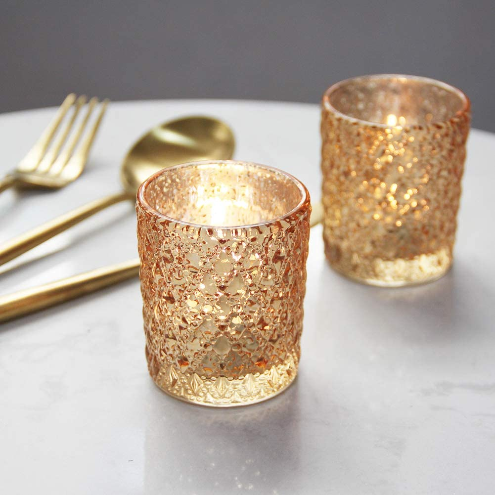 SHMILMH Studded Glass Candle Holder Set of 12 Gold Tealight Holders Bulk Table Centerpiece for Home Decor Wedding