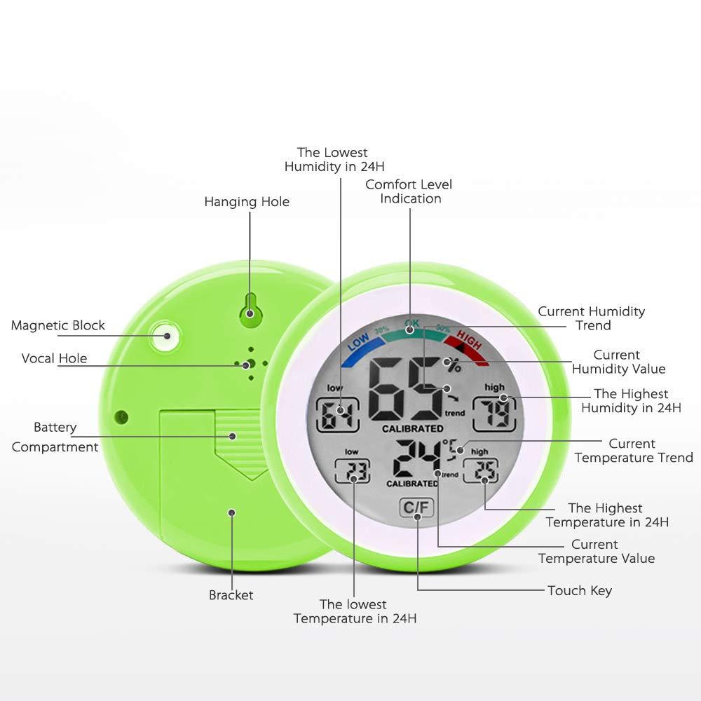 affichage de la tendance de lhumidit/é de la temp/érature Meter-Max /& Min Value avec /écran tactile ℃ ℉ hygrom/ètre Jiguoor Thermom/ètre num/érique multifonctionnel
