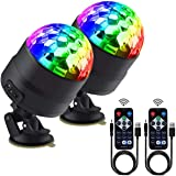 Disco Ball Party Lights Portable Rotating Lights Sound Activated LED Strobe Light 7 Color with Remote and USB Plug in for Car Home Room Parties Kids Birthday Dance Wedding Show