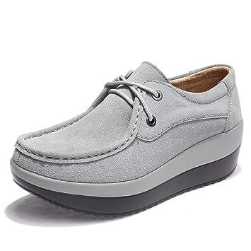 Qiusa Zapatos con Suela de Rocker Mocasines con Cordones de Cuero de la Plataforma de Mujer (Color : Gris, tamaño : EU 39): Amazon.es: Hogar