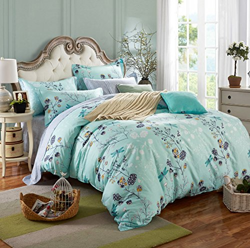Textile Bedding for Adult U1365 Dragonfly in Nature Cover Set 100% Cotton, Queen Set, 4 Pieces