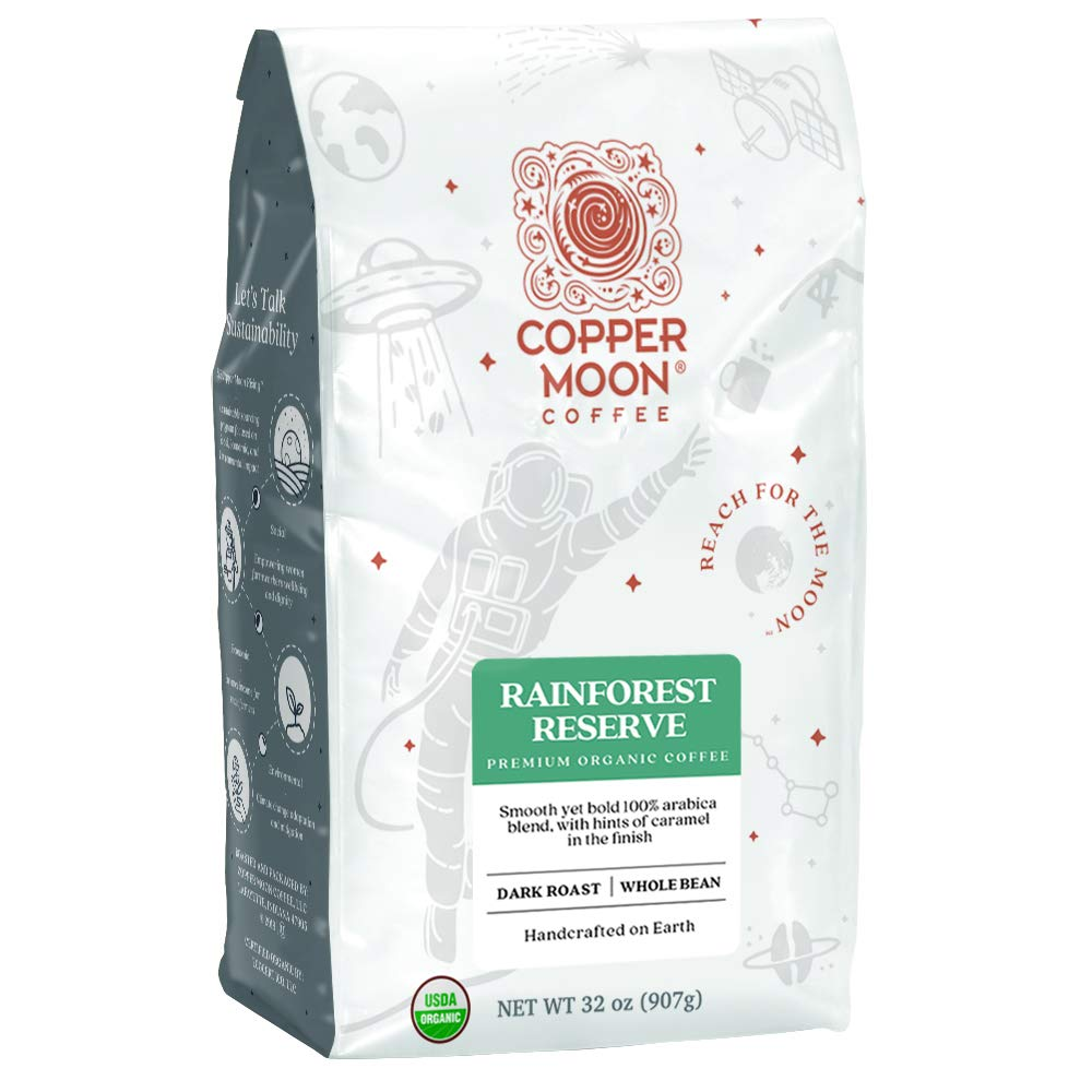 Copper Moon Rainforest Reserve Organic Blend, Dark Roast Coffee, Whole Bean, 2 lb.