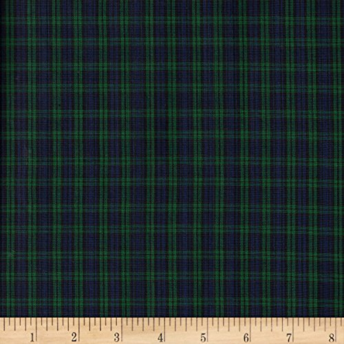 Textile Creations Classic Yarn-Dyed Tartan Plaid Blackwatch Blue/Green Fabric by The ()