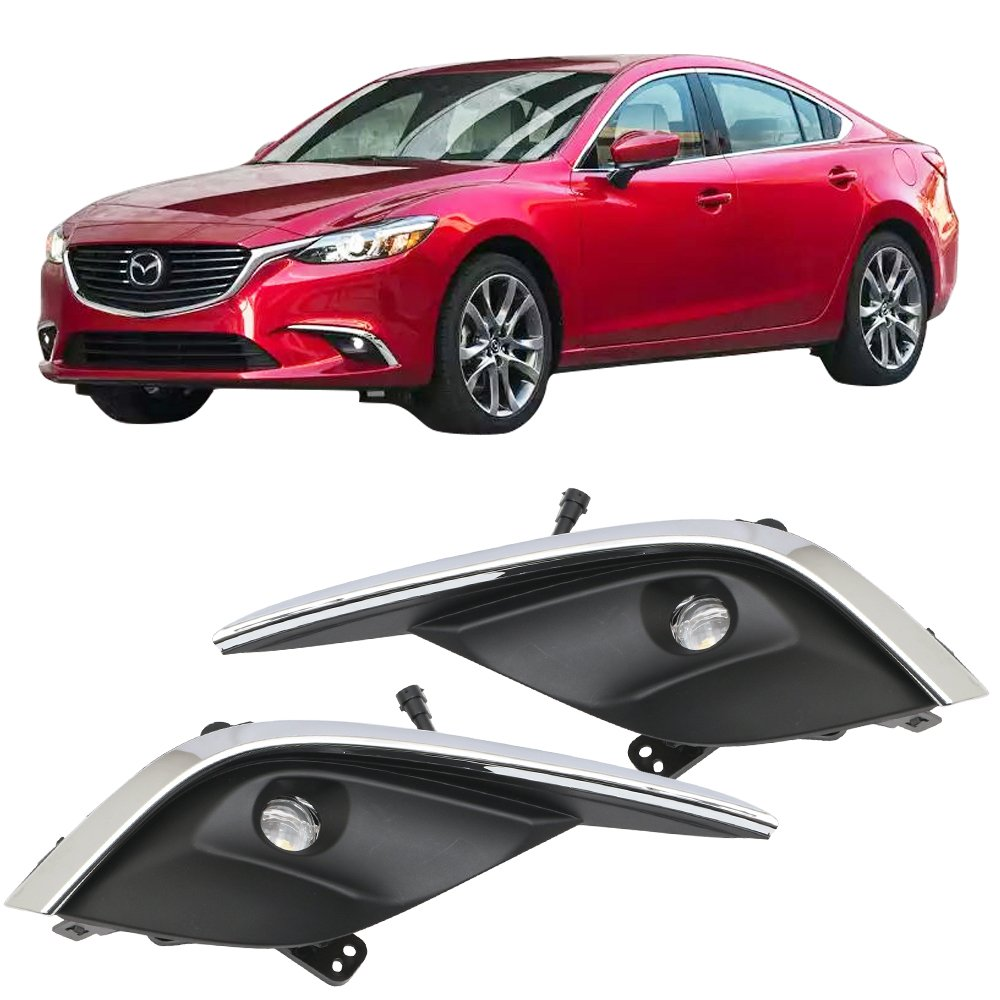 Lights Fits 2016-2017 Mazda 6   OE Style ABS Fog Light Lamp LED Kit Wiring With Chrome Trim Pairs by IKON MOTORSPORTS
