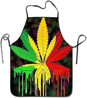 Icndpshorts Weed Cannabis Rasta Bib Apron Works Apron,Cooking Kitchen Aprons for Women Men Chef