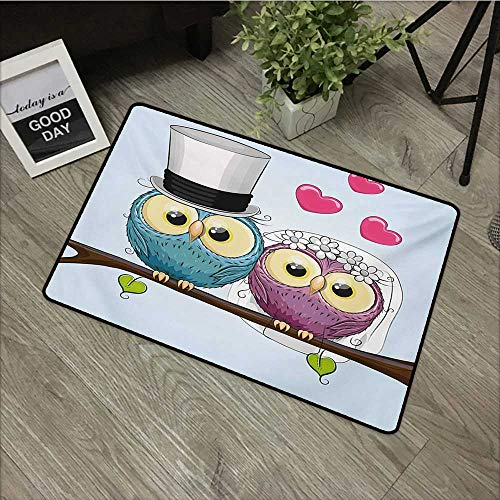 Anzhutwelve Wedding,Christmas Doormat Celebration Two Cartoon Style Cute Funny Owls Husband Wife Bride and Groom W 20