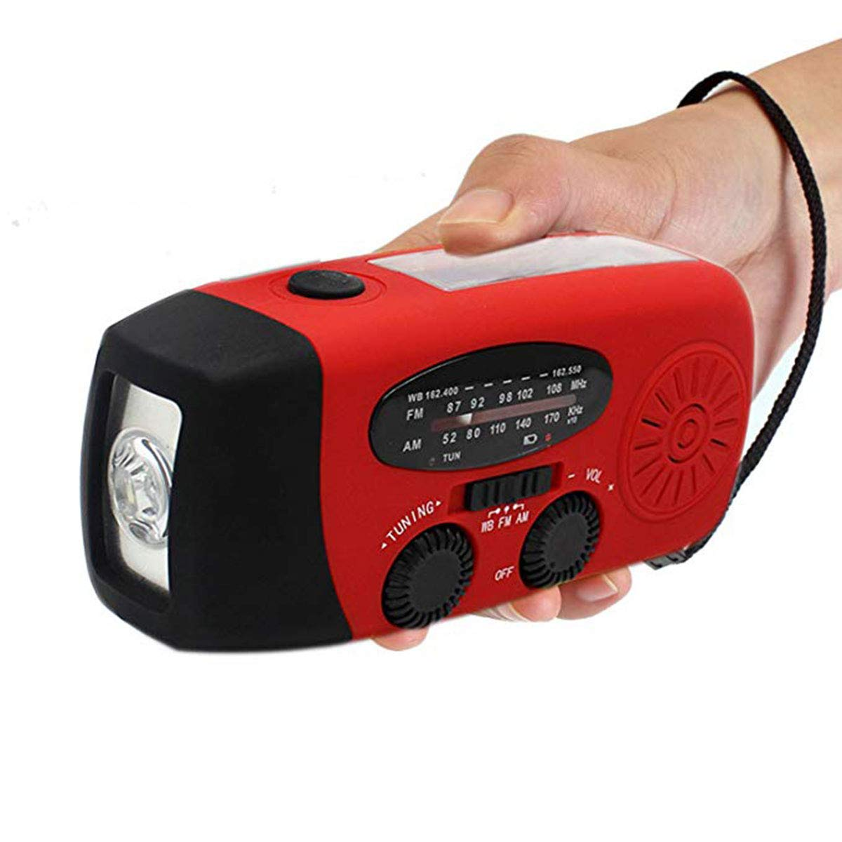 VOSAREA Emergency Solar Crank AM FM Camp Radio with LED Flashlight USB Output Port(Red)