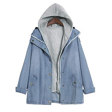 91cce471e34c Kulywon Winter Women Warm Collar Hooded Coat Jacket Denim Trench Parka  Outwear at Amazon Women s Coats Shop