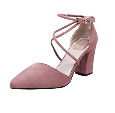 bf73e2caa0d Womens Pointed Toe Office Shoes Block Heel Ankle Strap High Chunky Heels  Sandal 5.5 UK Pink