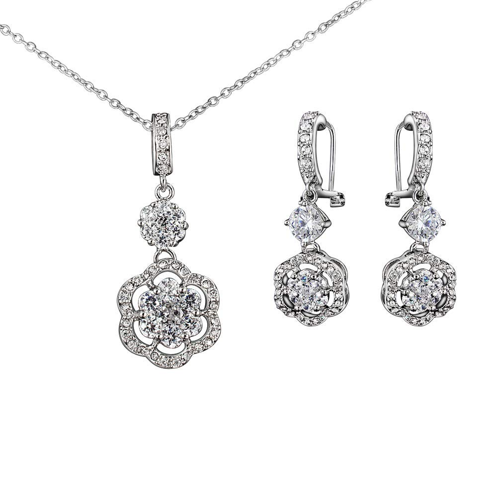 Onefeart White Gold Plated Jewelry Set Pendant Necklace Stud Earrings 2Pc//Set for Women Round Cubic Zirconia Flowers Design