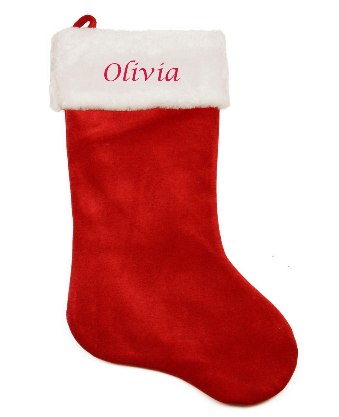 Personalised Embroidered Red Plush Christmas Stocking with name Super Jumbo 57x30cm Hoolaroo TN9556