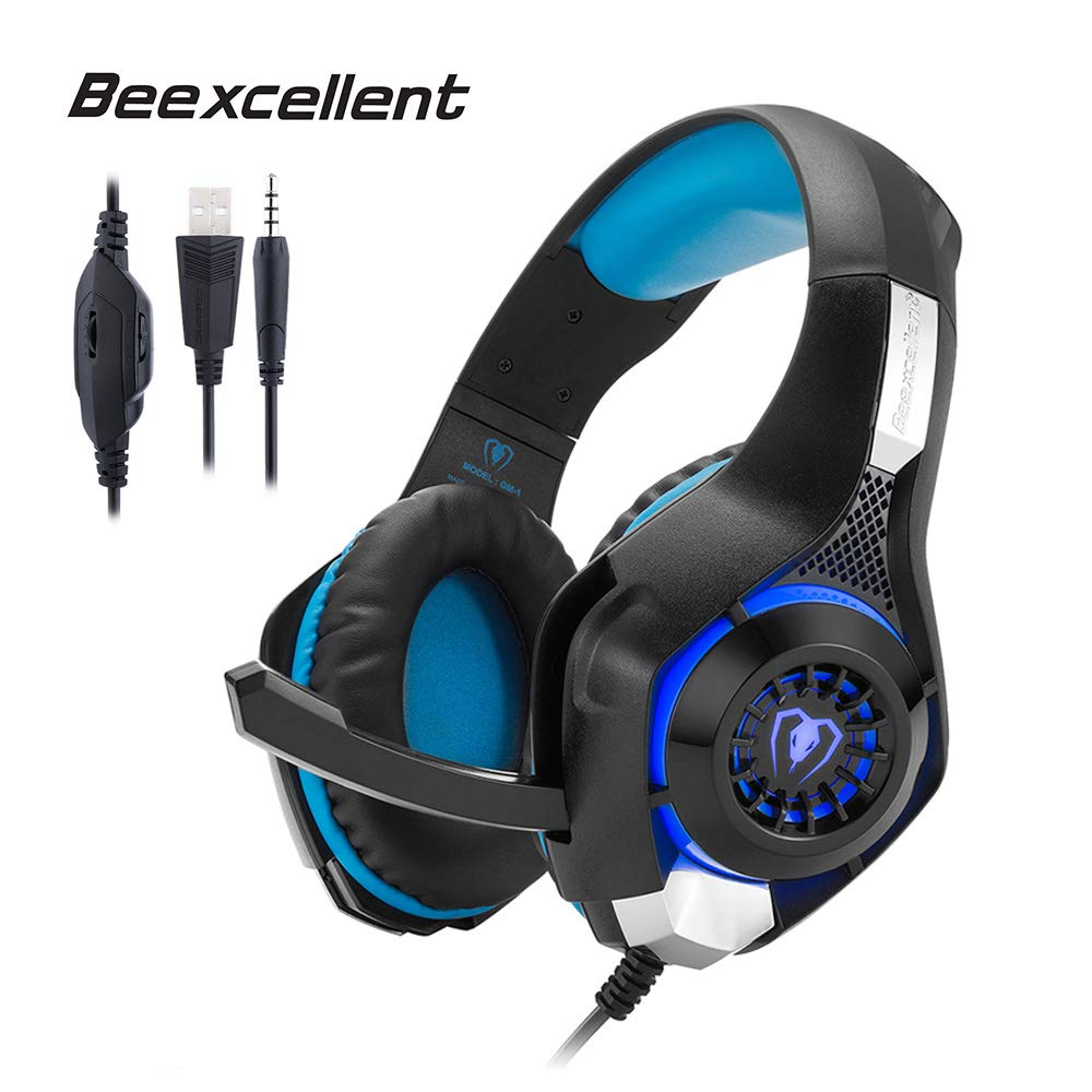 Beexcellent GM-1 Gaming Headset, Stereo Gaming Headphones Noise Isolation/LED Light/Bass Surround Over-ear/Mic USB & 3.5mm Wired for PS4 Xbox one PC (Blue)