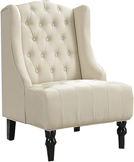 Chesterfield Wing Back Accent Chair Padded Seats Velvet Armchair For Home Office