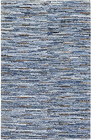 Surya Solid/Striped Rectangle Area Rug 2'x3' Blue Dungaree Collection - Dungaree Collection