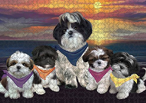 (Family Sunset Portrait Shih Tzus Dog Puzzle with Photo Tin PUZL54708 (1000 pc. 22