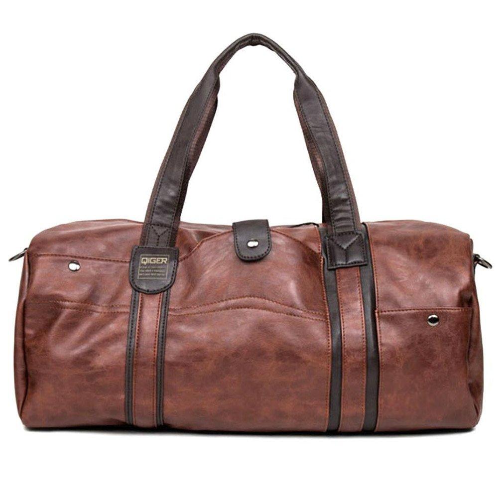 Amazon.com  Men s PU Leather Sports Bag Gym Bag Fitness Sport Bags Duffel  Tote Travel Shoulder Handbag Bag Black Brown Brown  Sports   Outdoors fd070d60b7e86