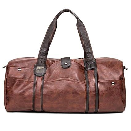 Men s PU Leather Sports Bag Gym Bag Fitness Sport Bags Duffel Tote Travel  Shoulder Handbag Bag aaa42dda929d4