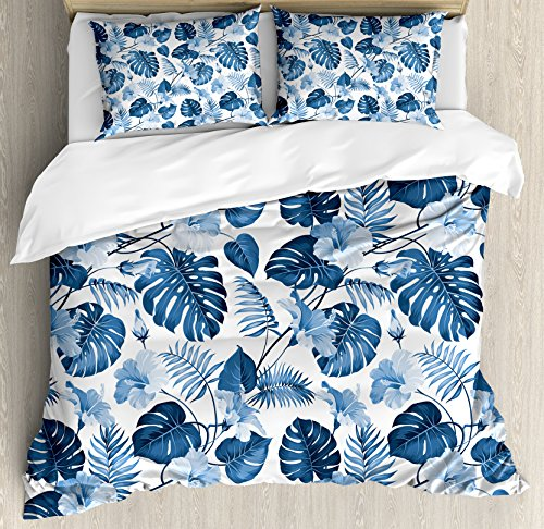 Ambesonne Leaf Duvet Cover Set King Size, Palm and Mango Tree Branch and Hawaiian Hibiscus Flower Image, Decorative 3 Piece Bedding Set with 2 Pillow Shams, Turquoise Blue ()