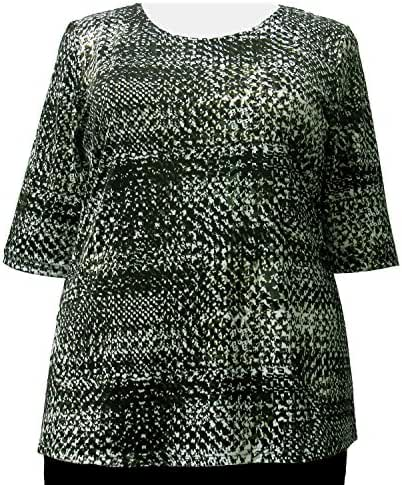A Personal Touch Women's Plus Size Olive Matrix Pullover Top
